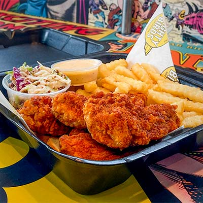 Chicken tenders, fries, coleslaw and sauce served by lunch spot near Southern Ave, South Gate CA.